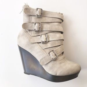 Shoes - Cream suede buckle wedge boots